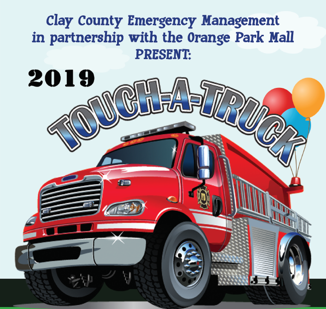 2019 Touch A Truck Flyer with firetruck in the center with balloons