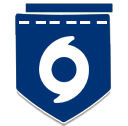 Dark blue badge with hurricane symbol
