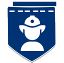 Dark blue badge with firefighter icon