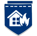 Dark blue badge with house and fire icon