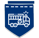 Dark blue badge with firetruck icon
