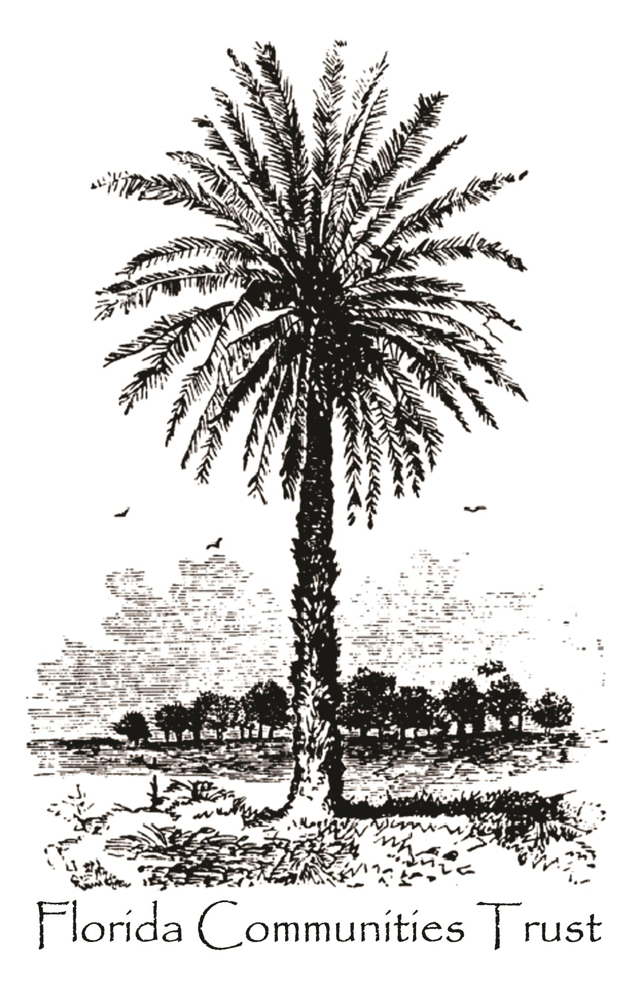 Florida Communities Trust logo with palm tree in foreground and group of trees in background